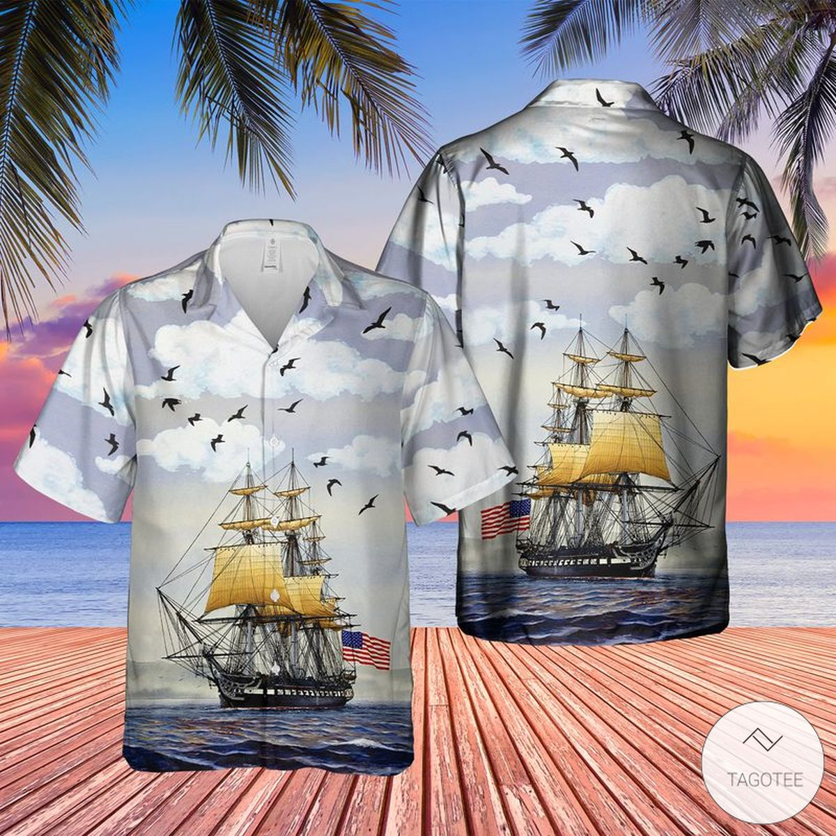 US Navy USS Constitution Hawaiian Shirt