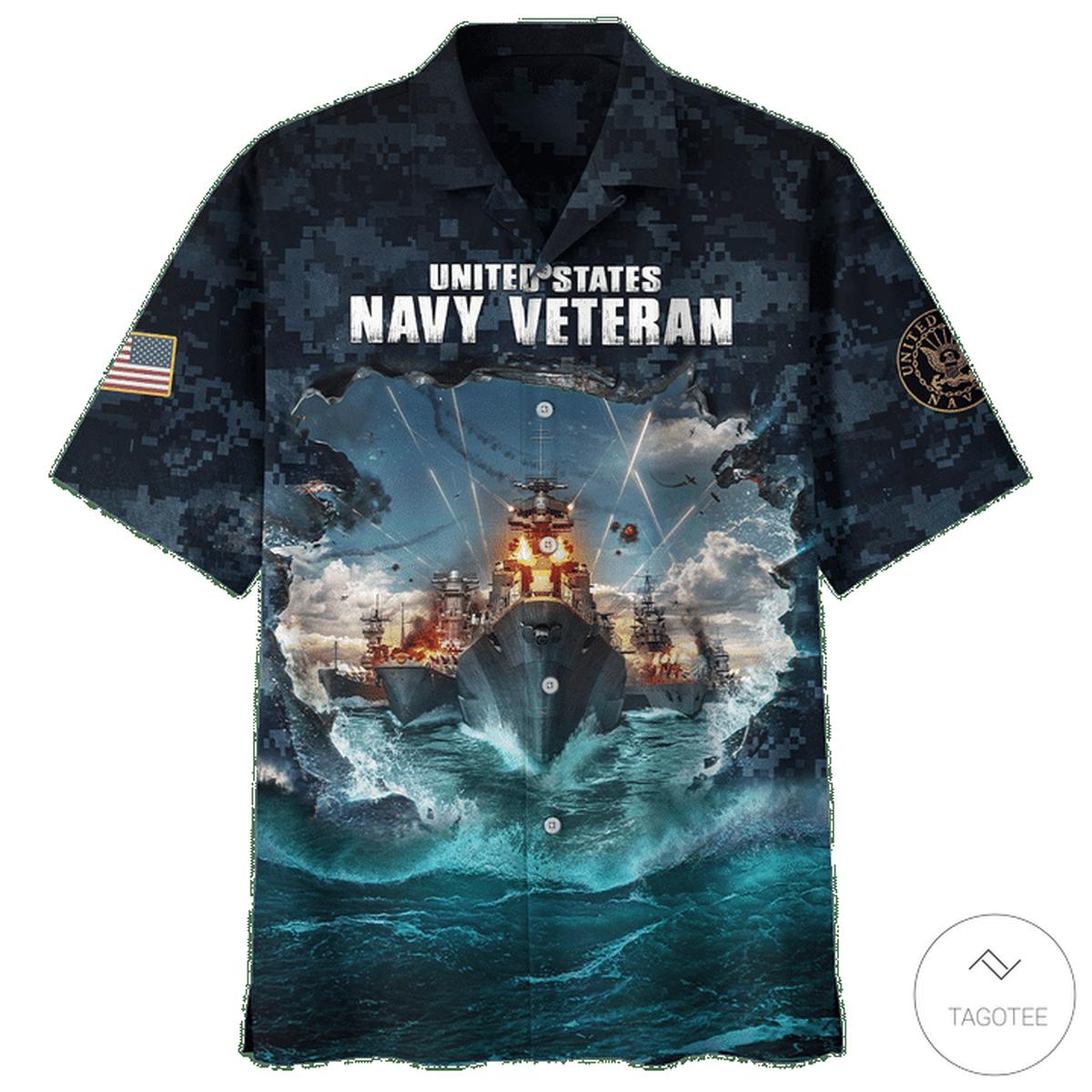 US Navy Veteran USS War Ship Hawaiian Shirtz