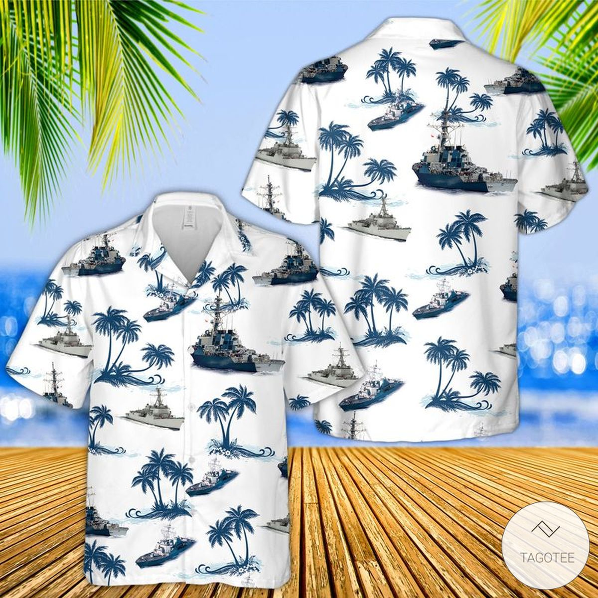 USS Arleigh Burke-class Destroyer Ship Hawaiian Shirt, Beach Shorts