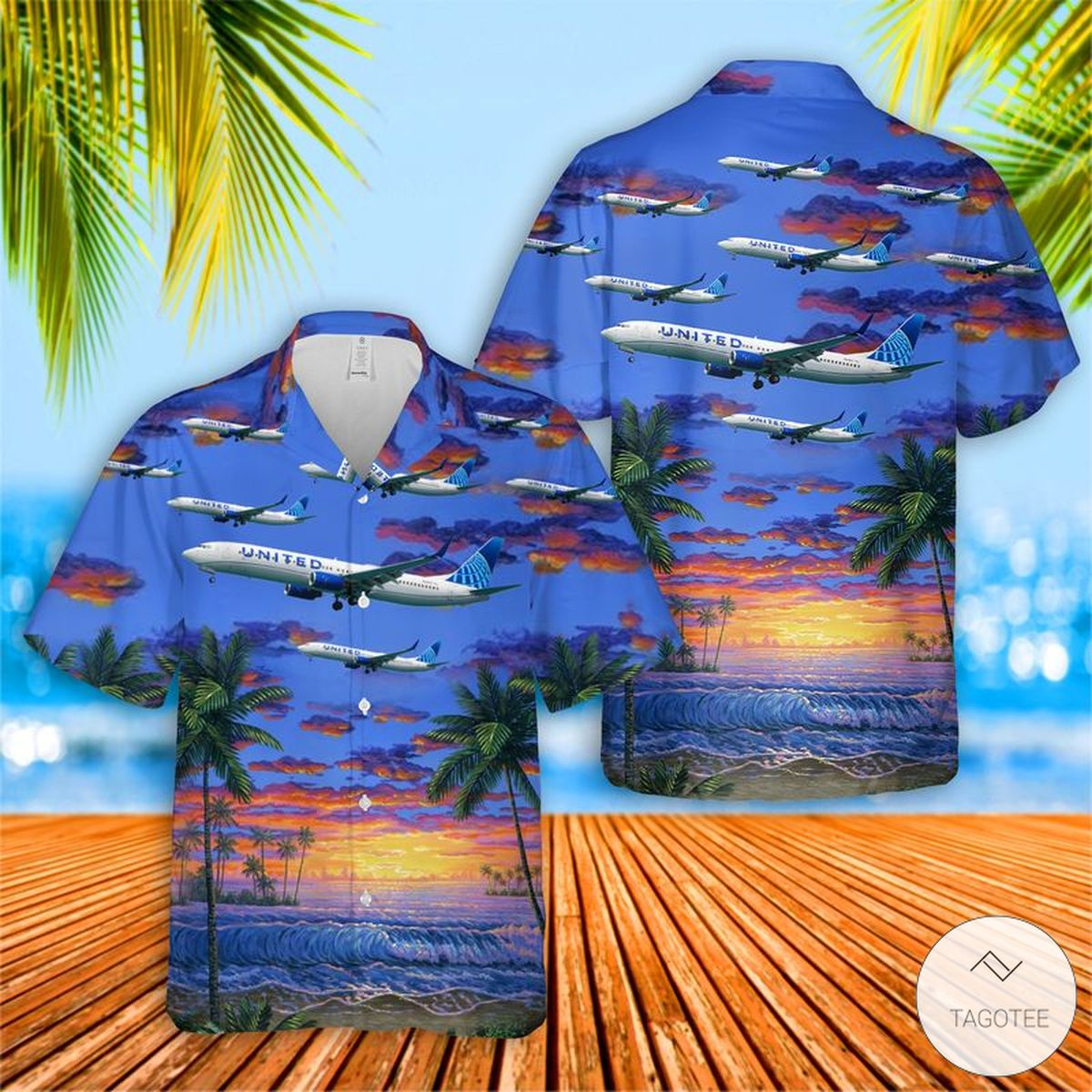 United Airlines Boeing 737-924ER Hawaiian Shirt, Beach Short