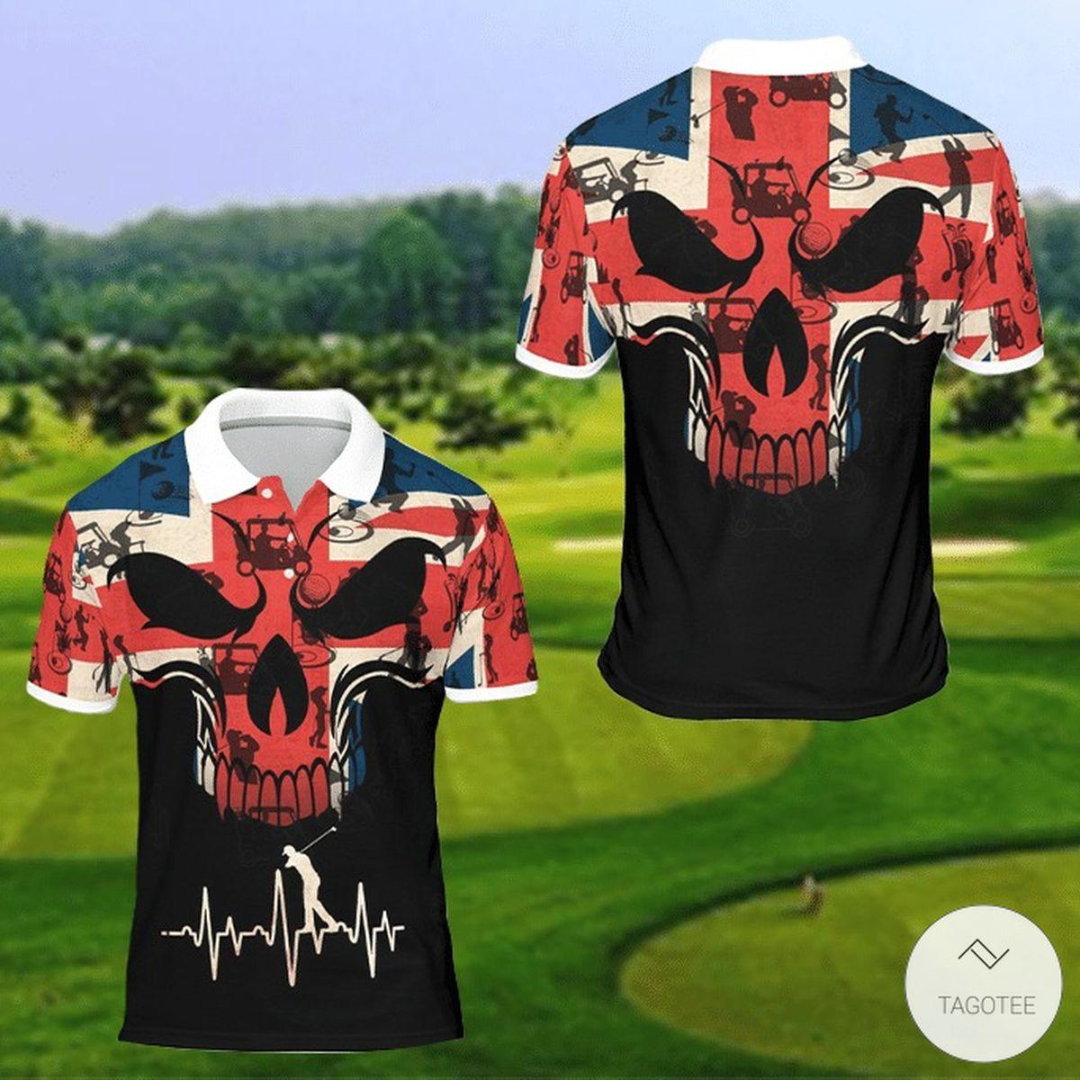 United Kingdom FLag Skull Golf Polo Shirt