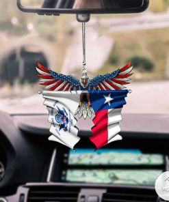 United States Coast Guard And The Lone Star Texas Flag Car Hanging Ornament