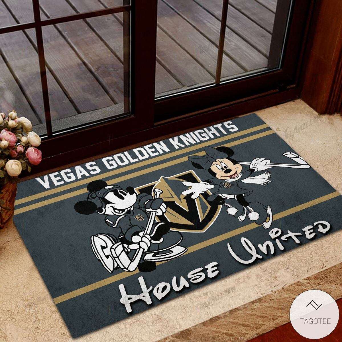 Vegas Golden Knights House United Mickey Mouse And Minnie Mouse Doormat