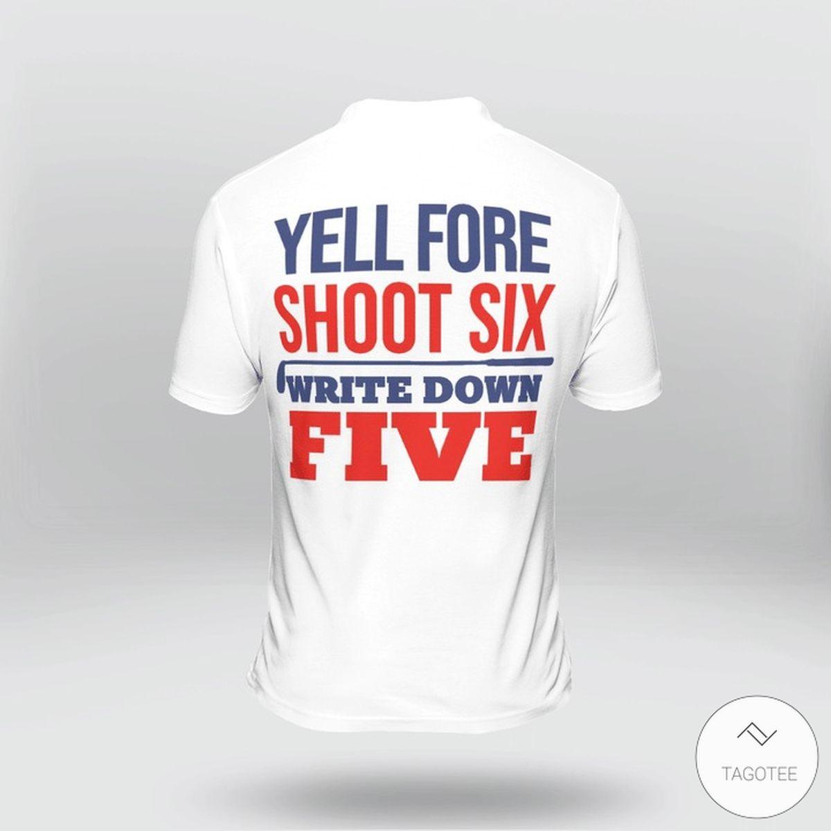Yell Fore Shoot Six Write Down Five Golf Polo Shirtz