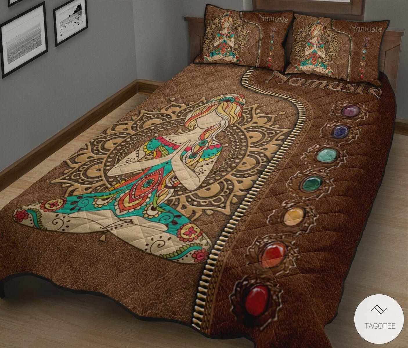 Yoga Namaste As Leather Quilt Bedding Setz