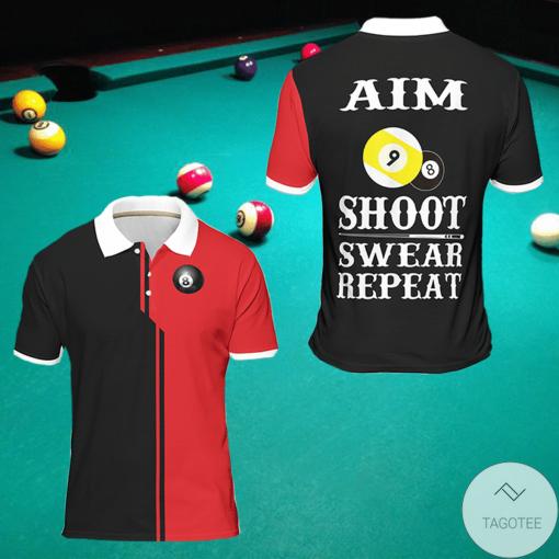 Aim Shoot Swear Repeat Billiard Polo Shirt