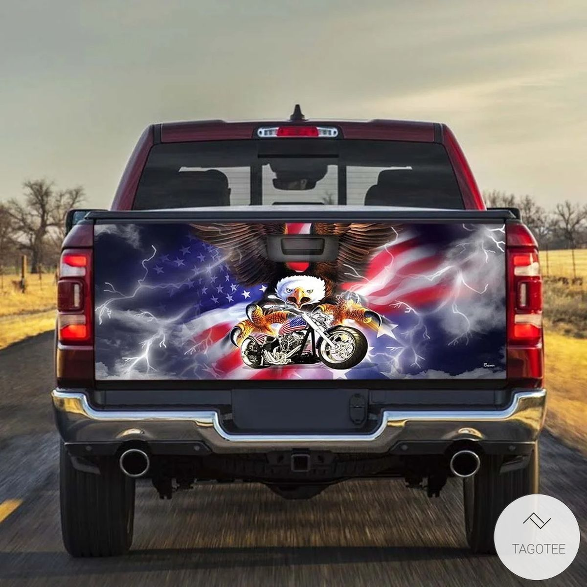 American Eagle Motorcycle Tailgate Wrap