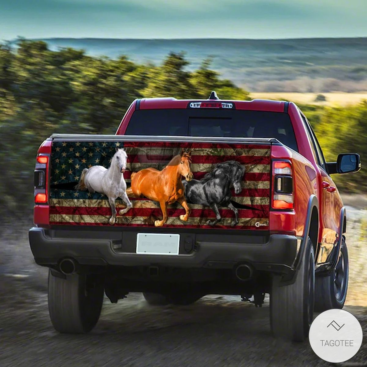 American Horses Running Tailgate Wrapx