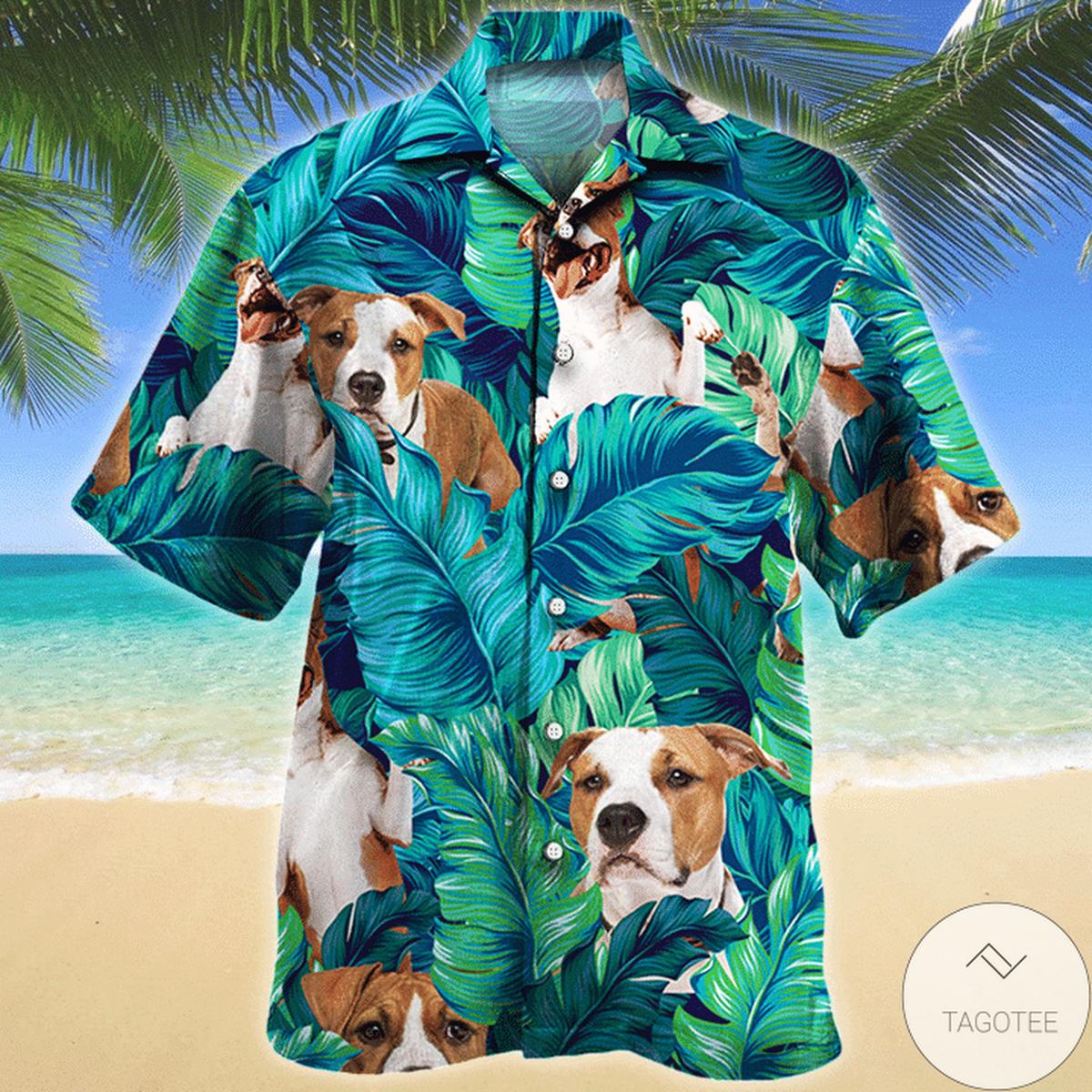 Great American Staffordshire Terrier Dog Lovers Hawaiian Shirt
