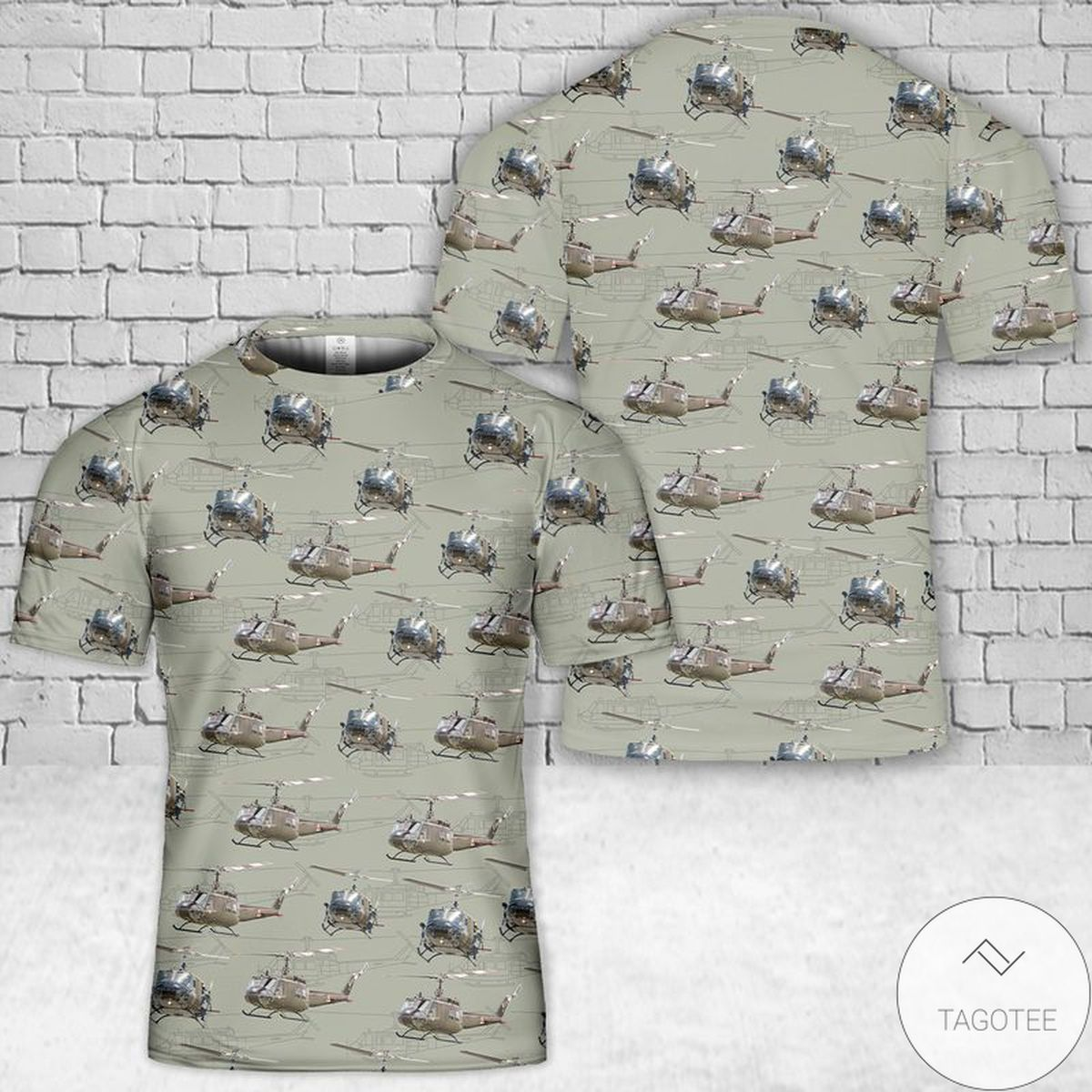 Army Huey Helicopter 3D T-Shirt