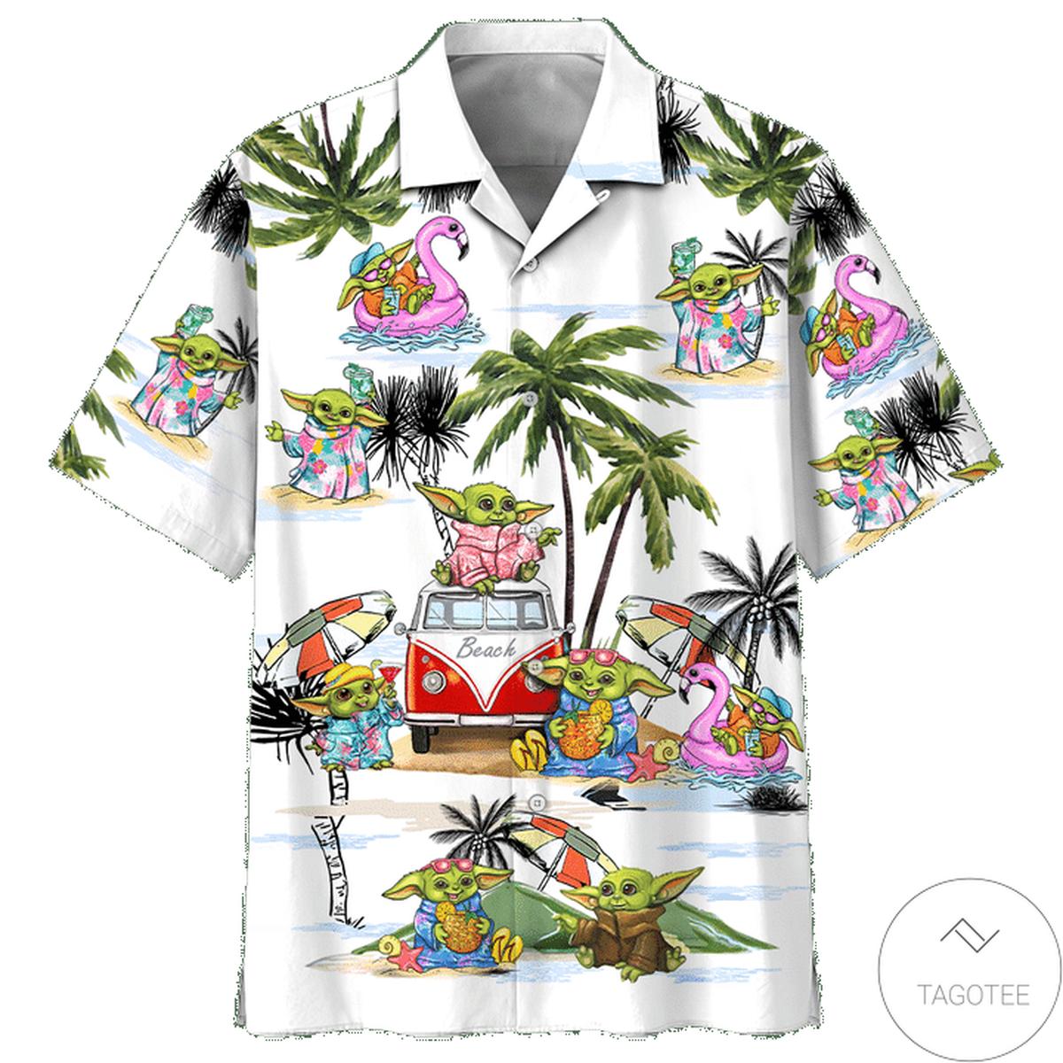 Baby Yoda Beach Vacation Summer Time Hawaiian Shirt