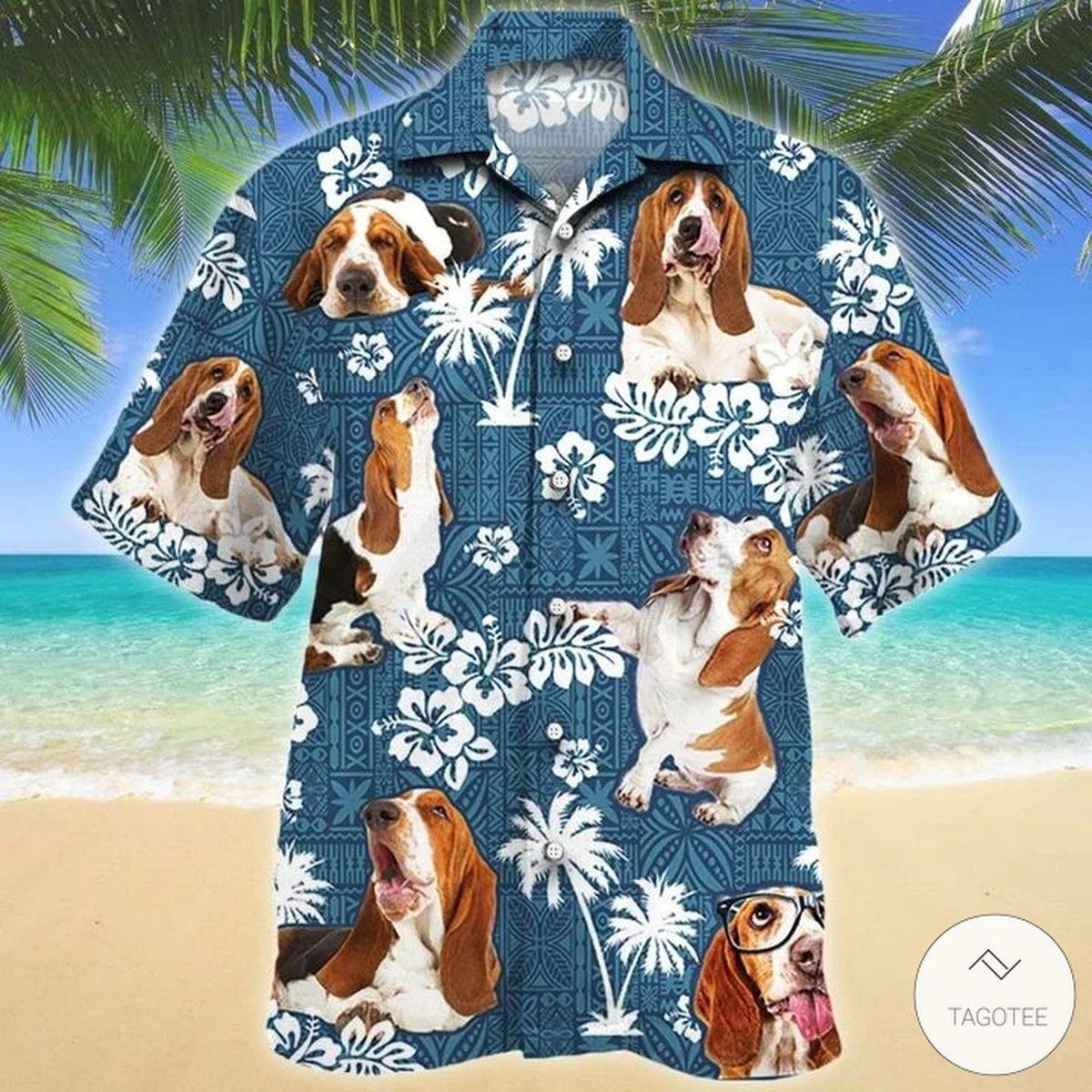 Basset Hound Dog Blue Tribal Pattern Hawaiian Shirt