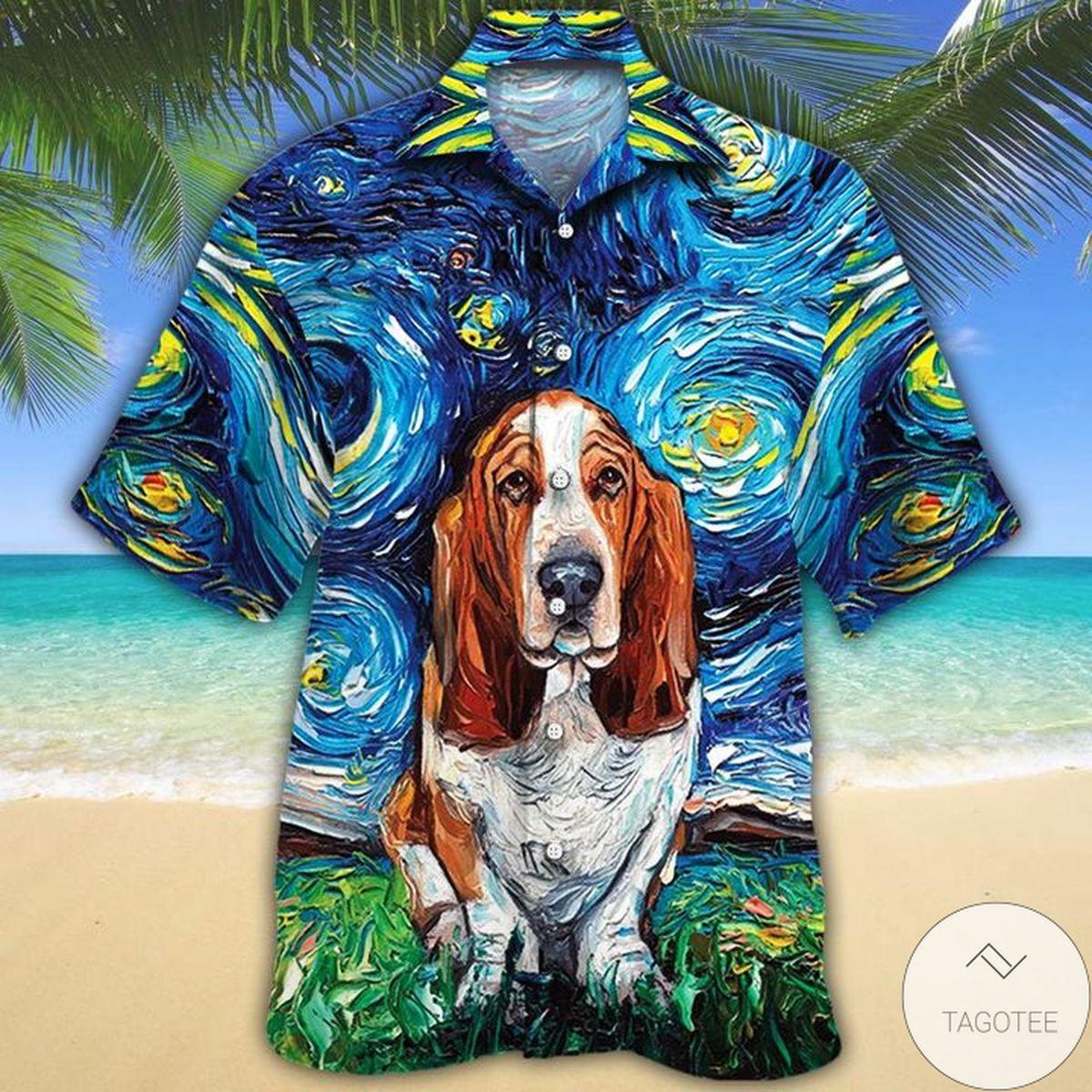 Basset Hound Dog Lovers Starry Night Hawaiian Shirt