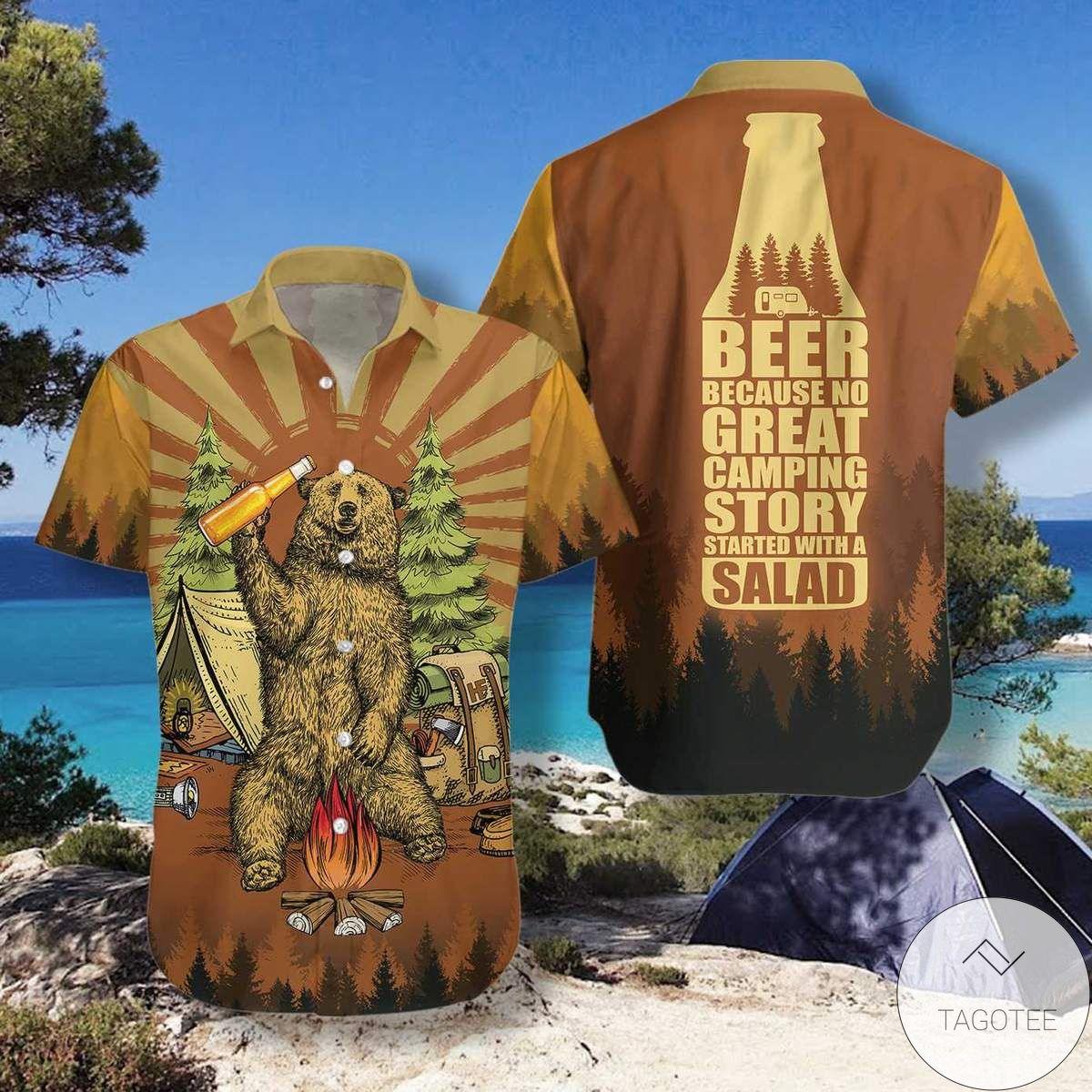 Beer Because No Great Campers Story With A Salad Hawaiian Shirtx