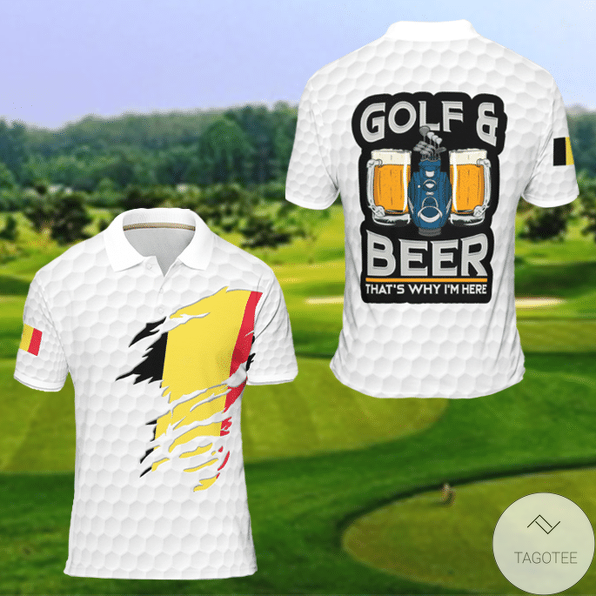 Belgium Golf And Beer That's Why I'm Here Golf Polo Shirt