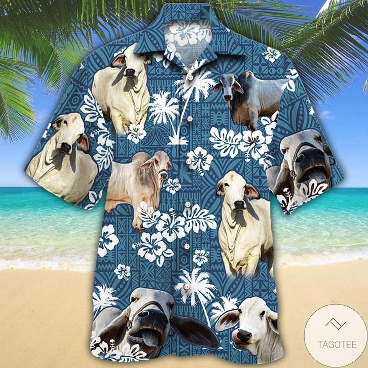 Brahman Cattle Lovers Blue Tribal Hawaiian Shirt