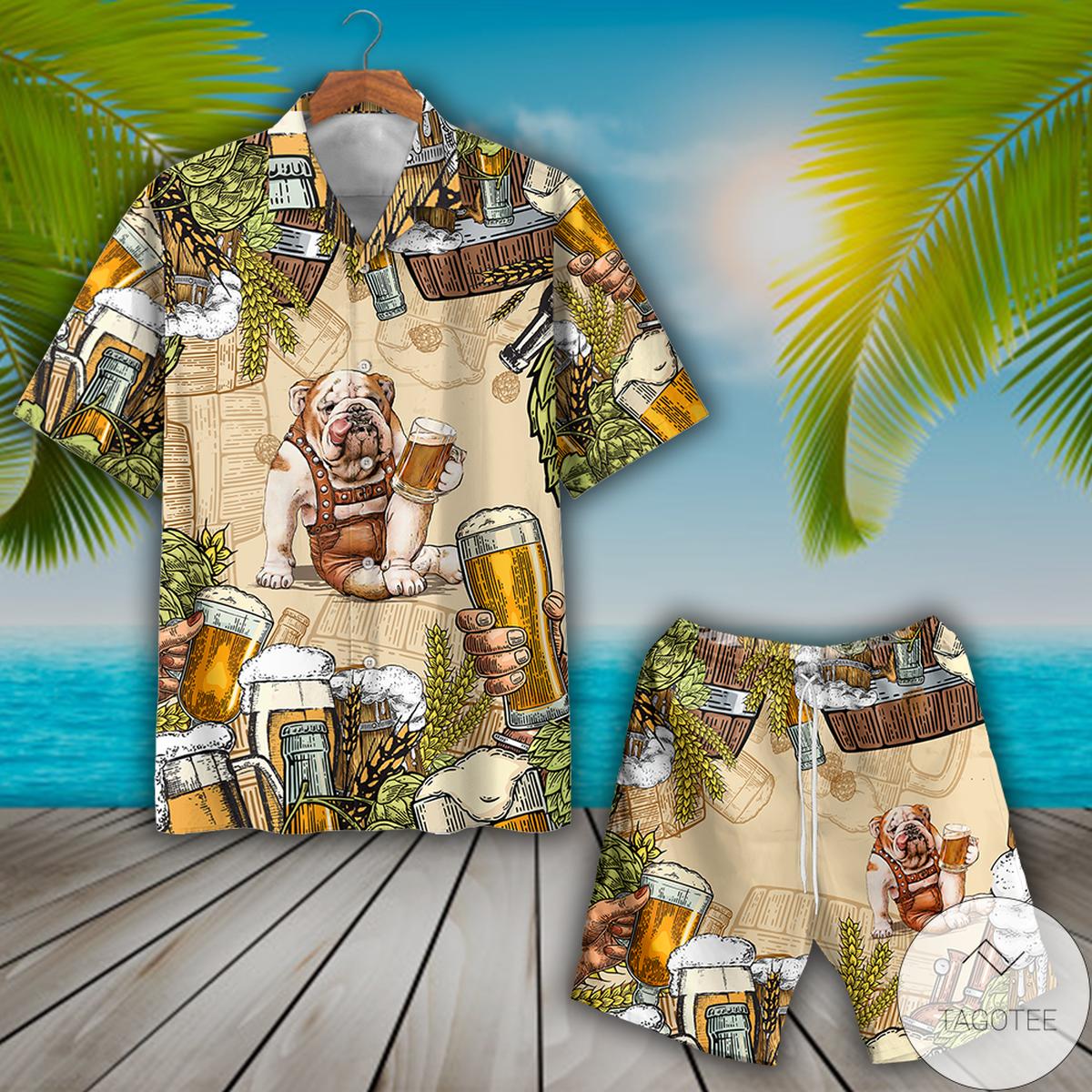Bulldog Beer Hawaiian Shirt, Beach Shortsx