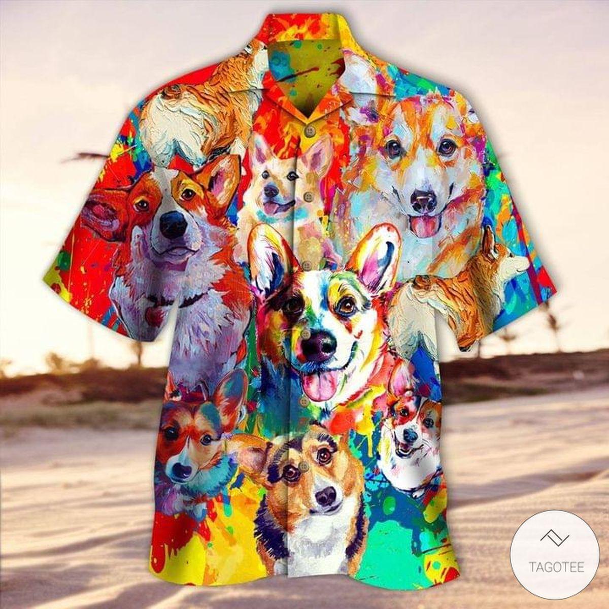 Colorful Pembroke Welsh Corgi Painting Hawaiian Shirt