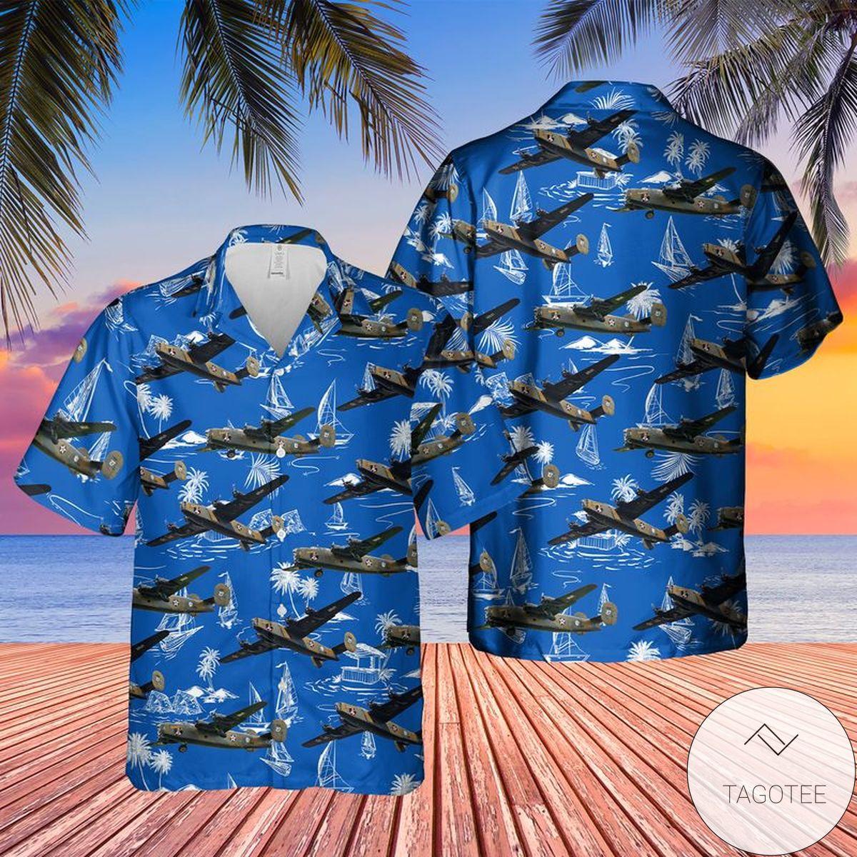 Official Consolidated B-24 Liberator Diamond Lil Hawaiian Shirt