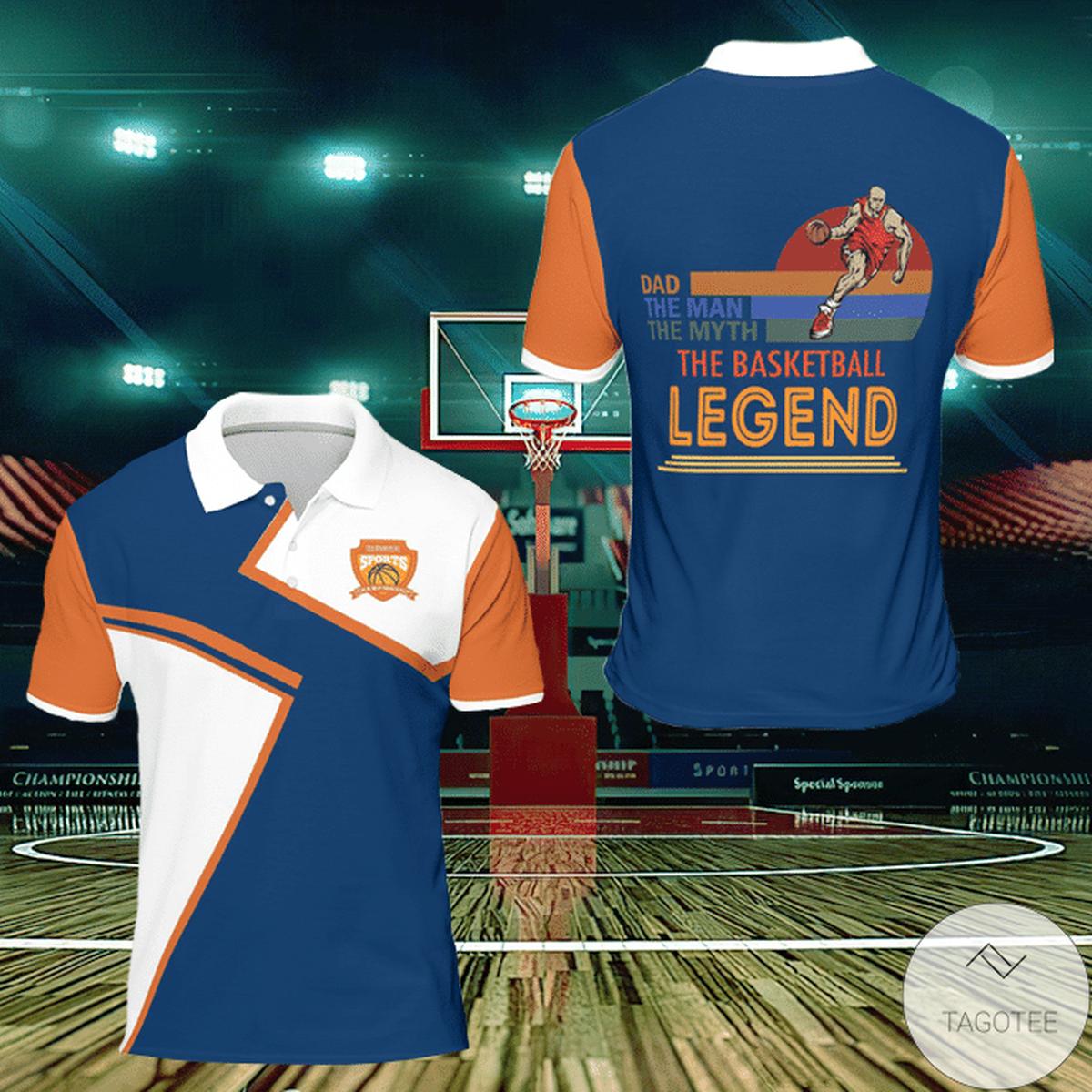 Dad The Man The Myth The Legend Basketball Polo Shirt