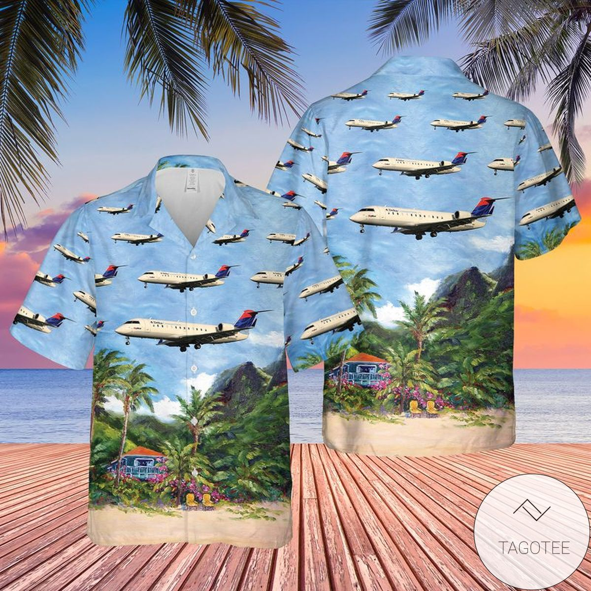 Delta Connection (SkyWest Airlines) Bombardier CRJ-100LR Hawaiian Shirt, Beach Shorts