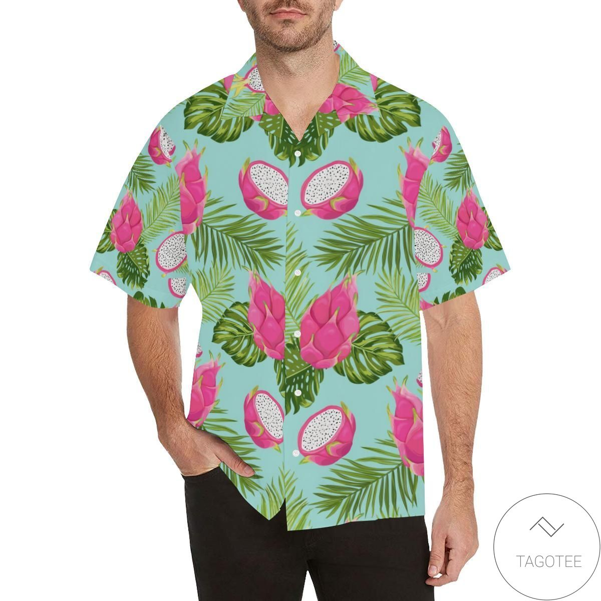 Dragon Fruit Leaves Pattern Hawaiian Shirt