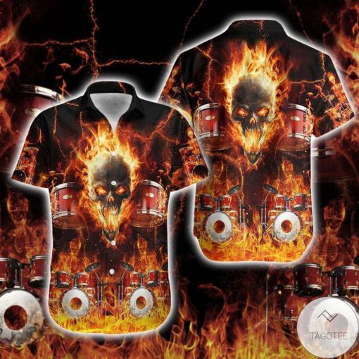 Drums Skull Fire Flame Hawaiian Shirt