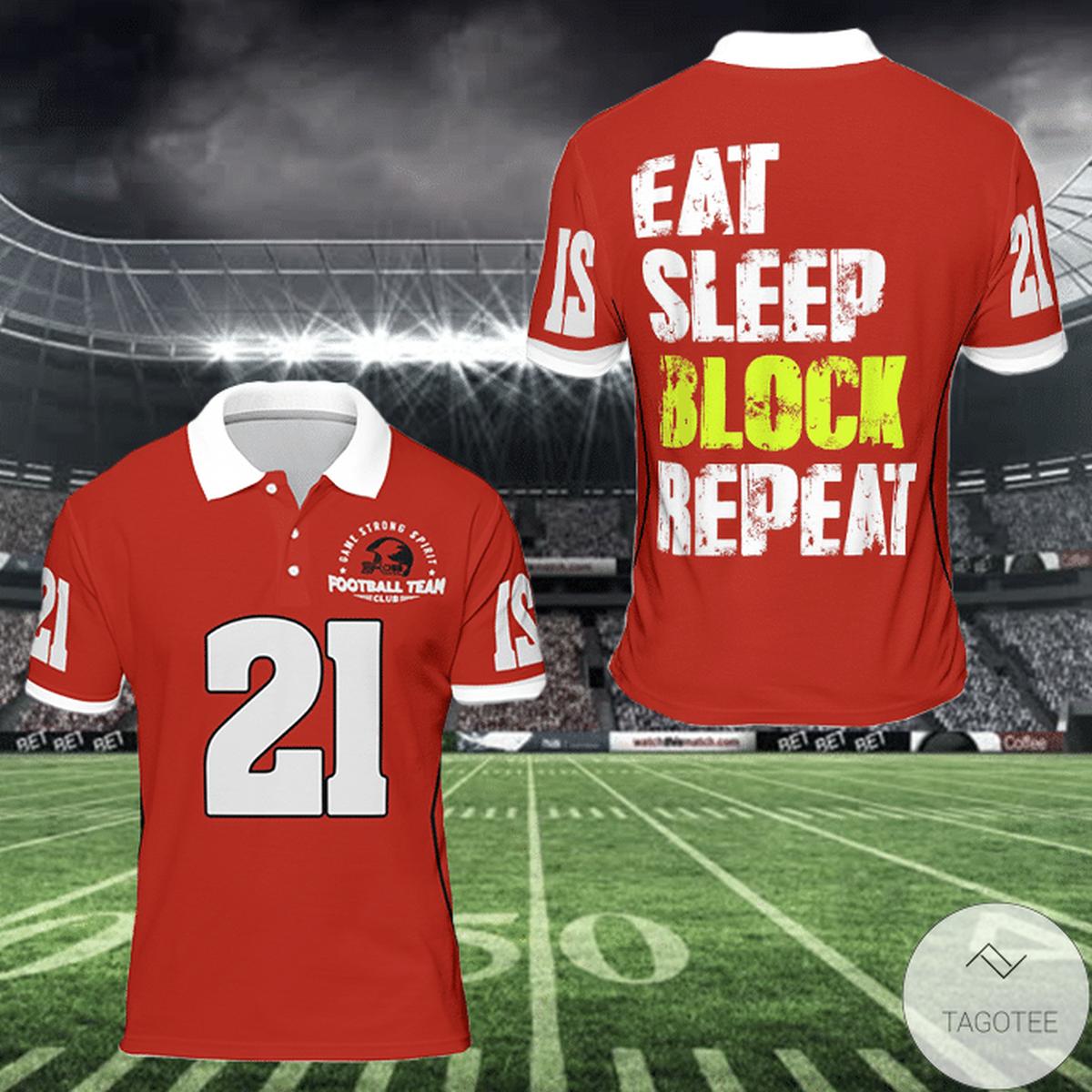 Eat Sleep Block Repeat American Football Polo Shirt