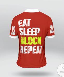 Eat Sleep Block Repeat American Football Polo Shirtx