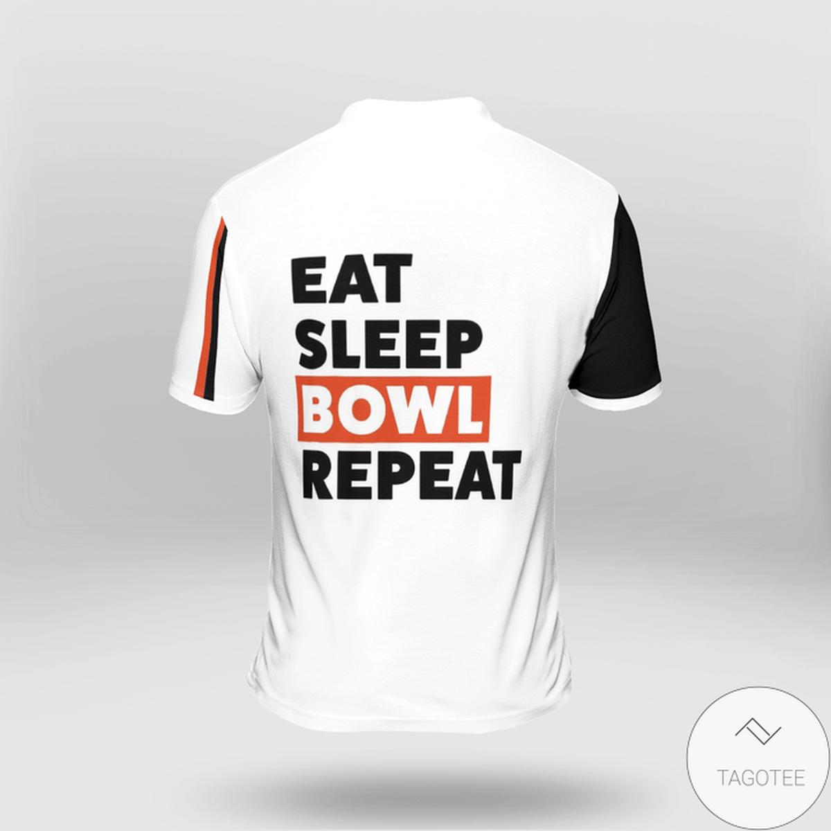 Free Ship Eat Sleep Bowl Repeat Polo Shirt