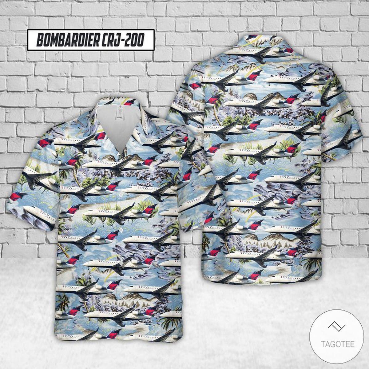 Endeavor Air Bombardier CRJ-200 Hawaiian Shirt