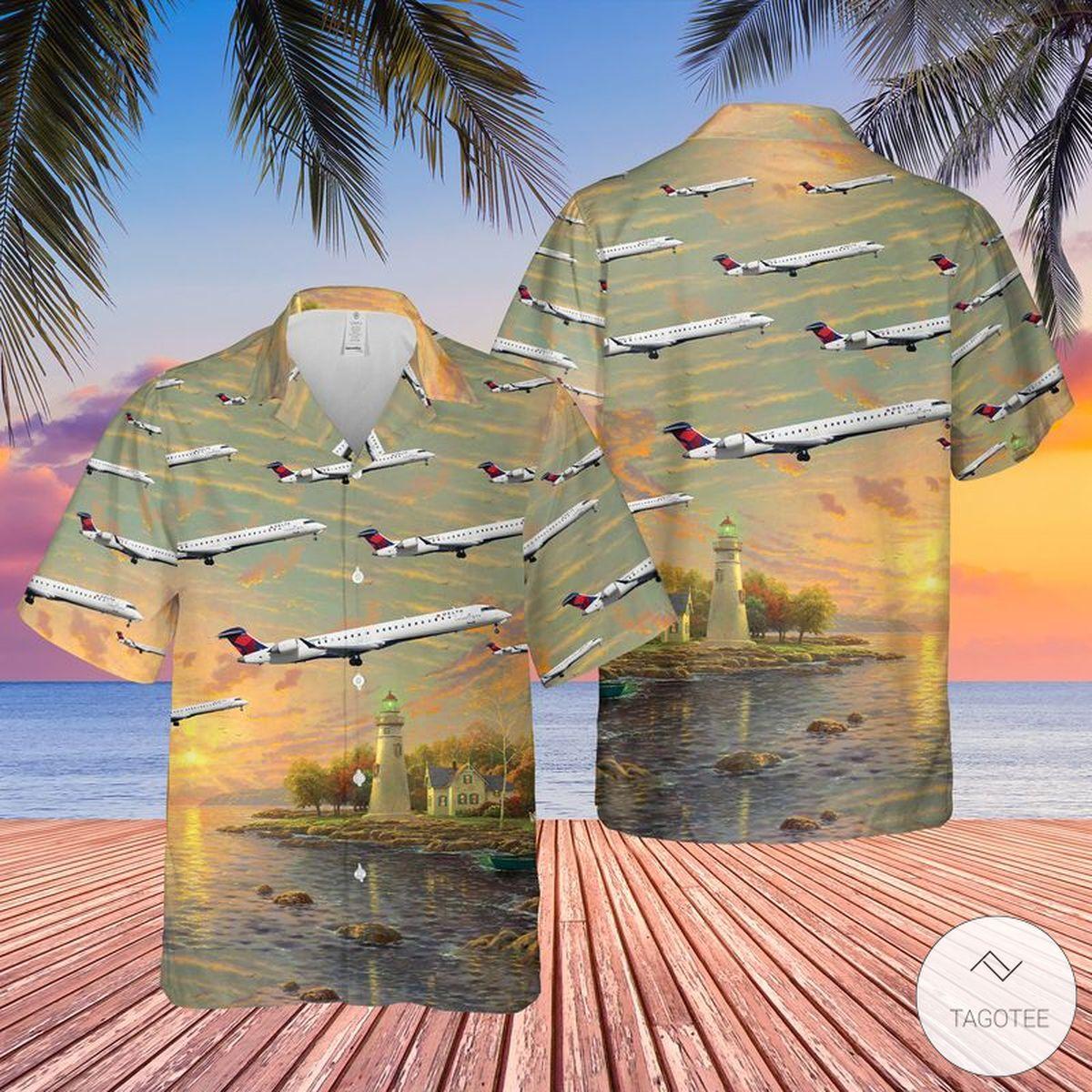 Endeavor Air CRJ-900 Hawaiian Shirt, Beach Shorts