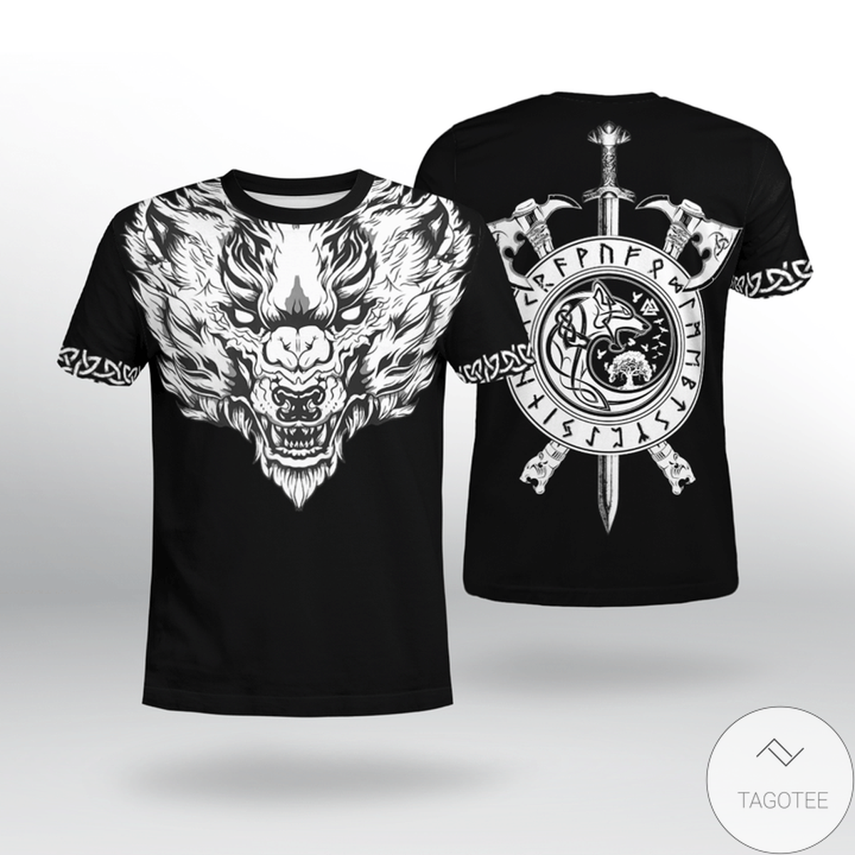 Fenrir Wolf Axe Sword Viking 3D T-shirt