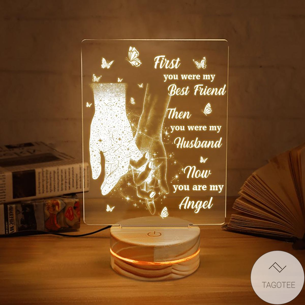 First You Were My Best Friend Then You Were My Husband Now You Are My Angel UV LED Lamp, Night Light Lamps