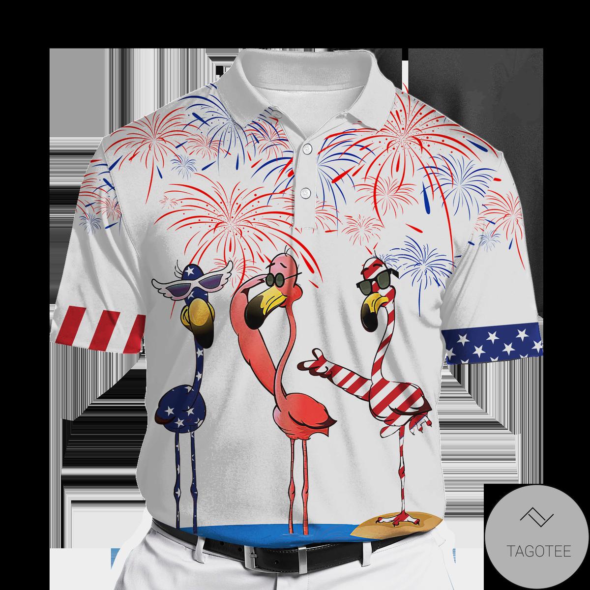 Flamingo Firework Polo Shirt