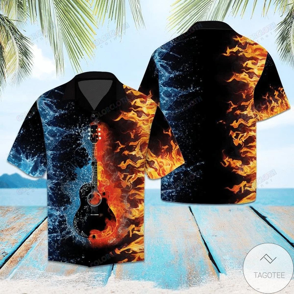 Review Guitar Water And Fire Hawaiian Shirt