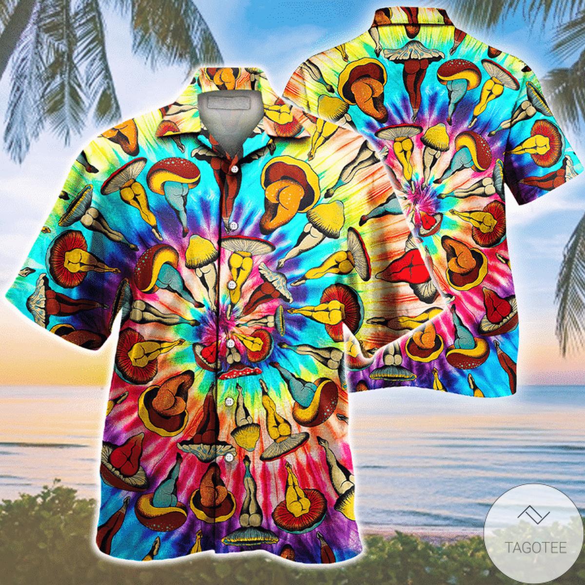 Hippie Tie-dye Mushroom Pattern Hawaiian Shirt