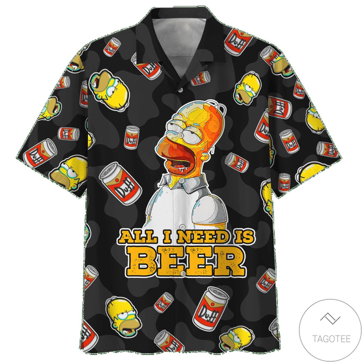 Homer Simpson All I Need Is Beer Hawaiian Shirt