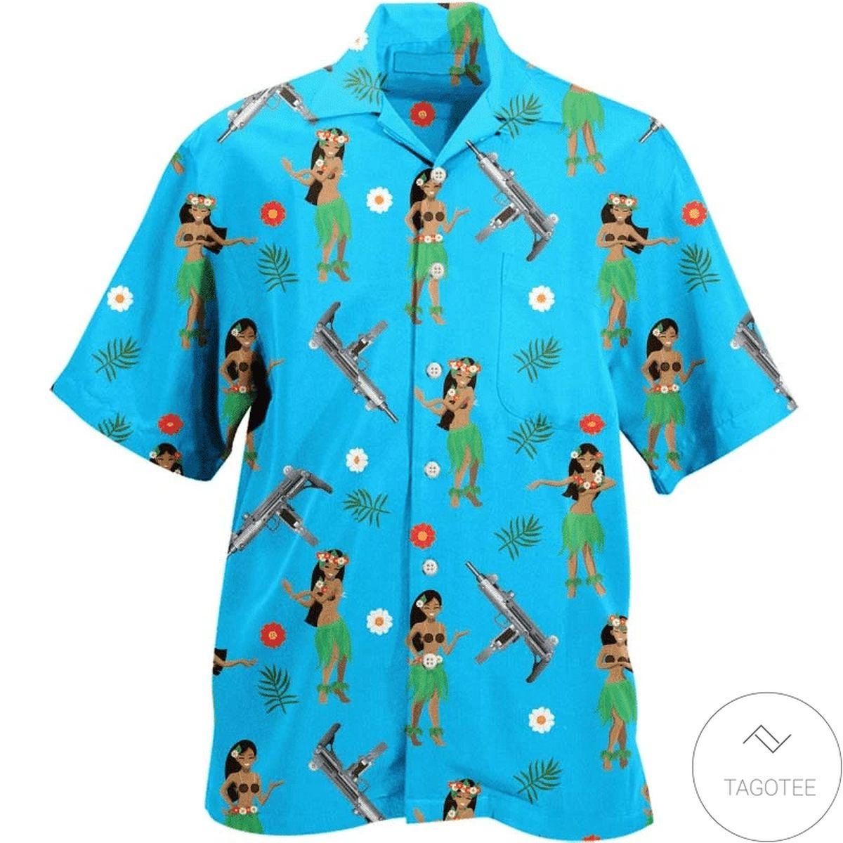 Hula Girl Uzi Gun Hawaiian Shirt