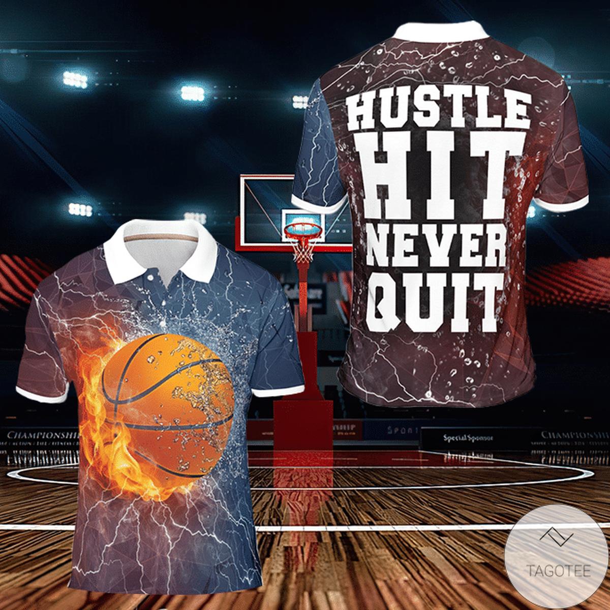 Hustle Hit Never Quit Basketball Polo Shirt