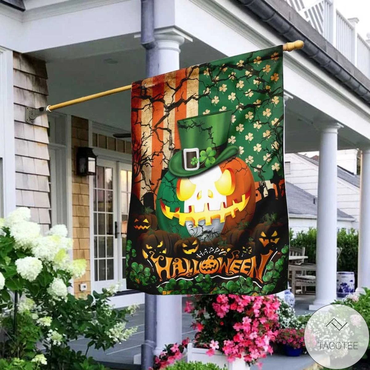 Irish Halloween Trick Or Treat House Flag