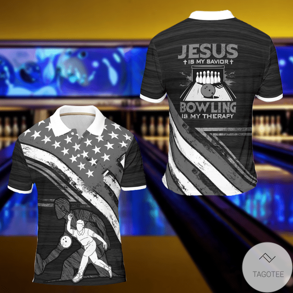 Jesus Is My Savior Bowling Is My Therapy Polo Shirt