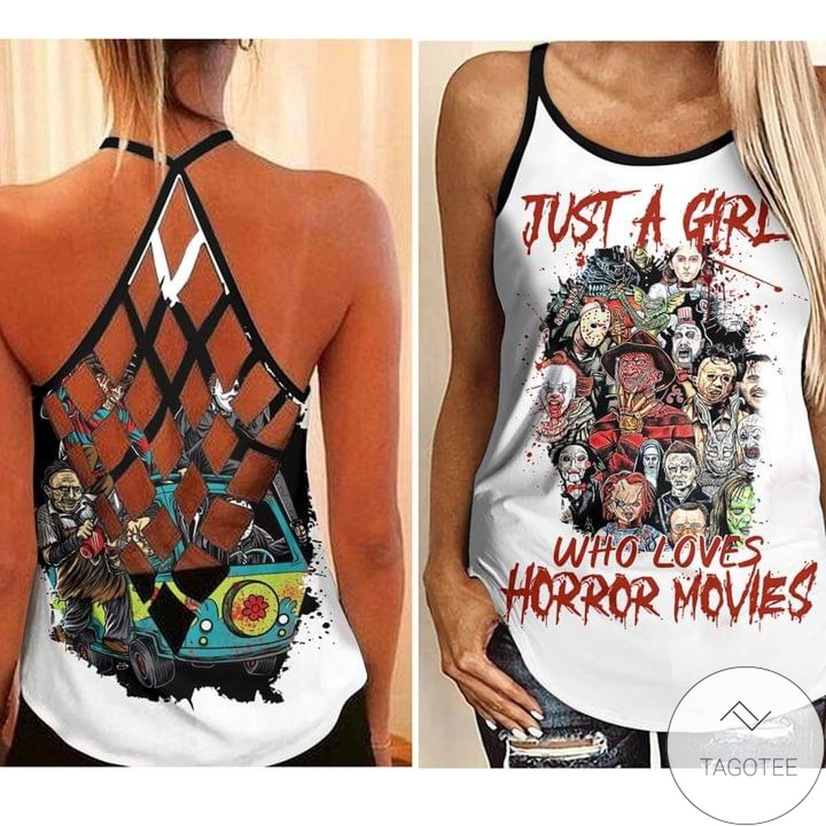 Just A Girl Who Loves Horror Movies Criss Cross Strappy Back Tank Top