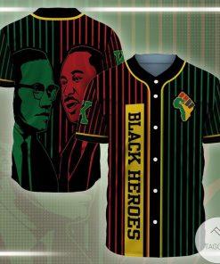 MLK ft Malcolm Black Heroes Baseball Jersey