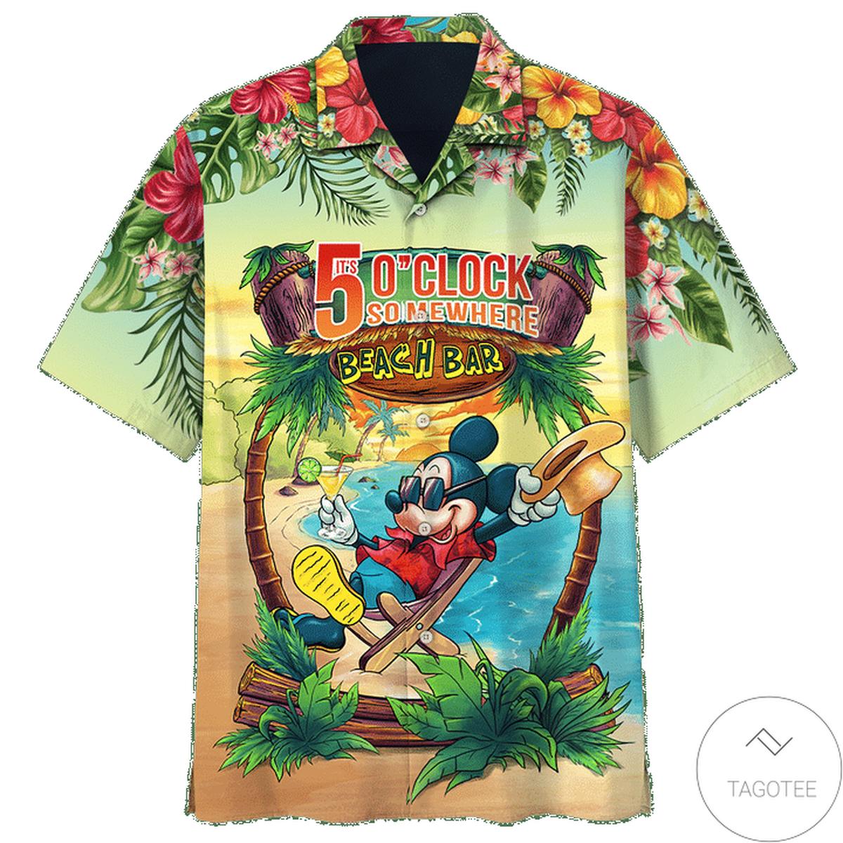 Esty Mickey Mouse It's 5 O'clock Somewhere Hawaiian Shirt
