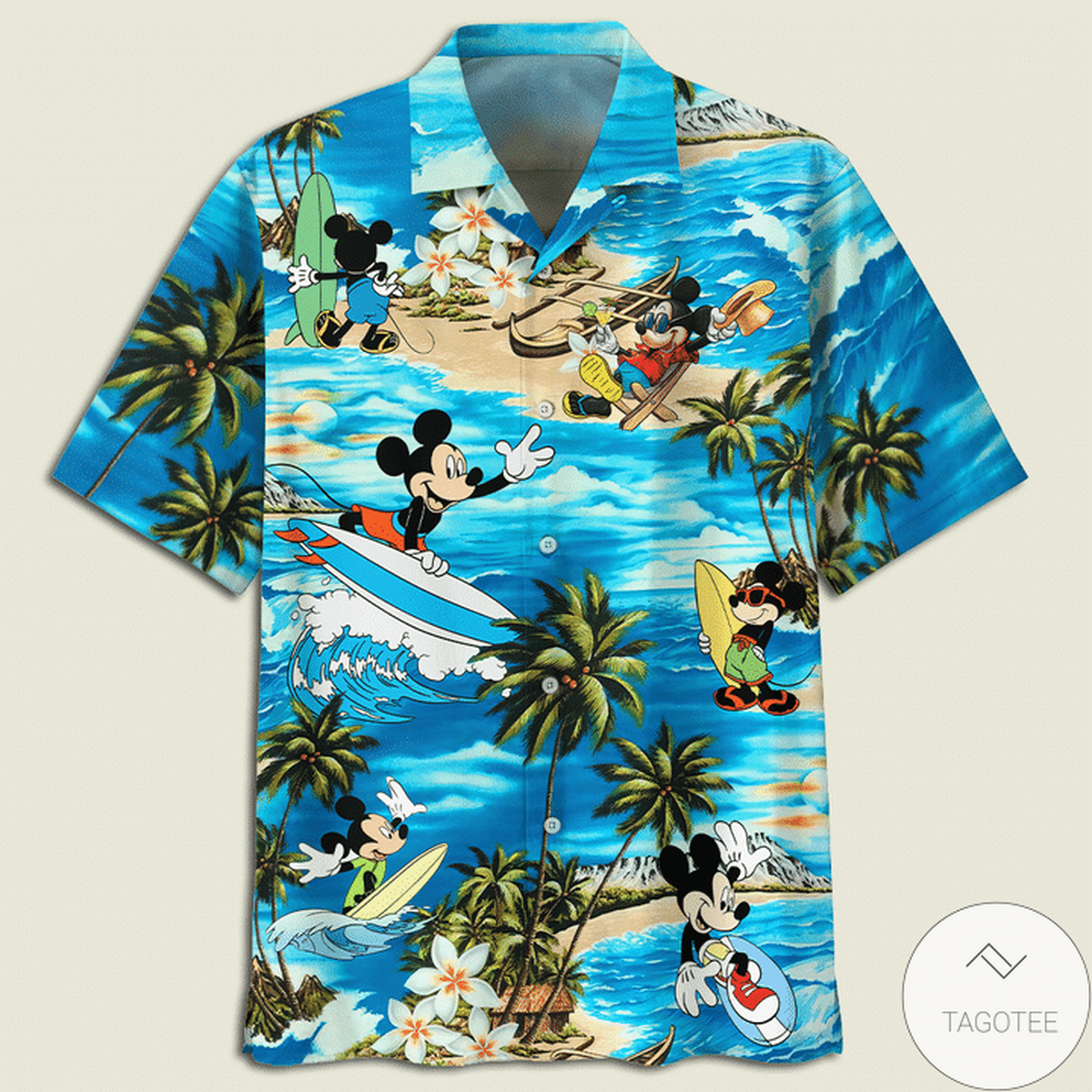 Mickey Mouse Surf On The Waves Hawaiian Shirt