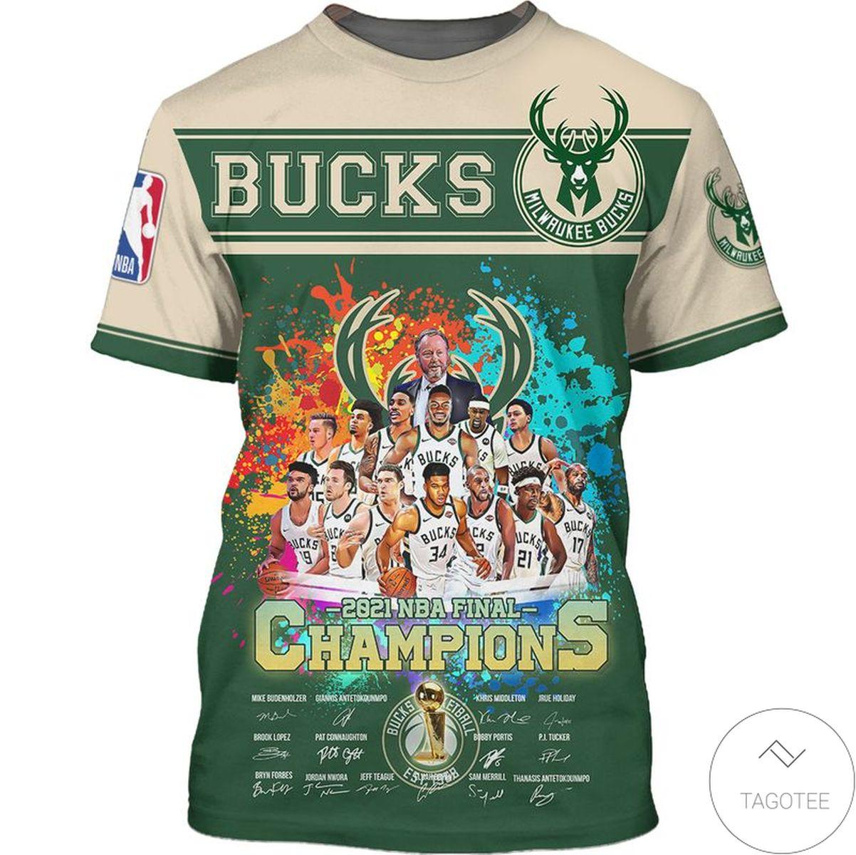 Milwaukee Bucks 2021 NBA Final Champions 3D T-Shirt