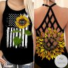 Mom Est 2021 Sunflower Criss Cross Strappy Back Tank Top