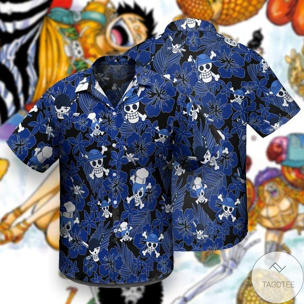 Monkey D. Luffy One Piece Skull Blue Summer Hawaiian Shirt