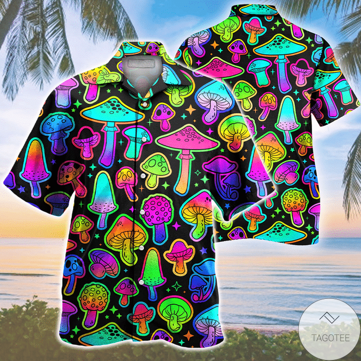US Shop Mushroom Colorful Pattern Hawaiian Shirt